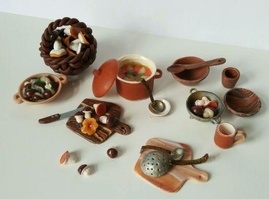 """Кукольный дом ручной работы. Ярмарка Мастеров - ручная работа. Купить Набор миниатюрной еды """" Грибной день"""", полимерная глина, масштаб 1:12. Handmade."""