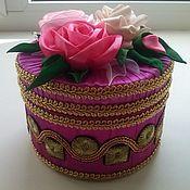 шкатулка ручной работы из атласных лент. Розовая поляна