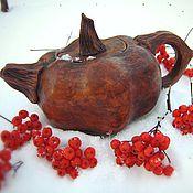 Посуда ручной работы. Ярмарка Мастеров - ручная работа Керамический чайник-тыква. Handmade.