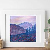 Картины и панно handmade. Livemaster - original item Painting landscape mountains pastel Lilac. Handmade.
