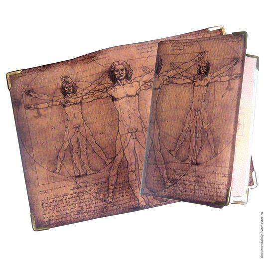 """Обложки ручной работы. Ярмарка Мастеров - ручная работа. Купить Обложка на паспорт, обложка для документов (кожа) """"Da'Vinci"""". Handmade."""