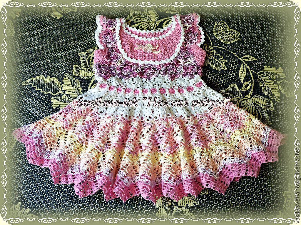Вязание крючком детские платья и оформление цветочками 46