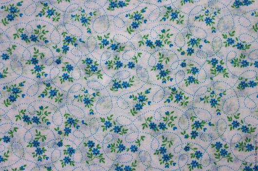Шитье ручной работы. Ярмарка Мастеров - ручная работа. Купить Ткань с цветочками 50х40 см. Handmade. Голубой, ткань для творчества