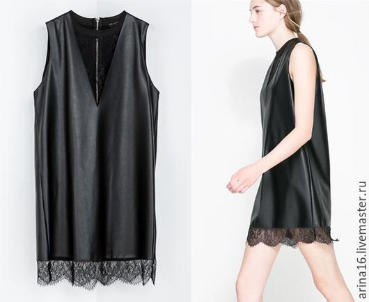 Платья ручной работы. Ярмарка Мастеров - ручная работа. Купить Платье из кожи с кружевом. Распродажа. Handmade. Черный, платье летнее
