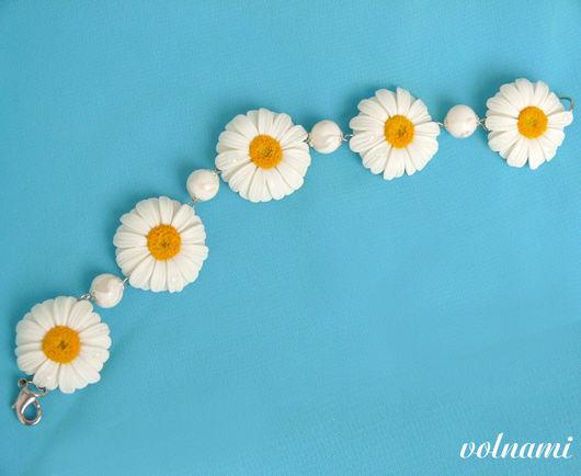 """Браслеты ручной работы. Ярмарка Мастеров - ручная работа. Купить """"Ромашки"""" браслет. Handmade. Браслет, 8 июля, подарок для девочки"""