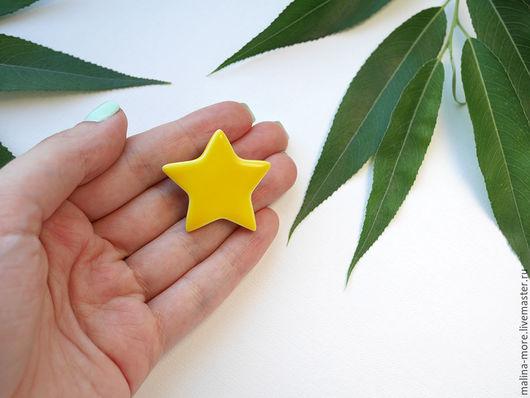 """Броши ручной работы. Ярмарка Мастеров - ручная работа. Купить Брошь """"Звезда"""". Handmade. Желтый, аксессуары, подарок, ручная работа"""