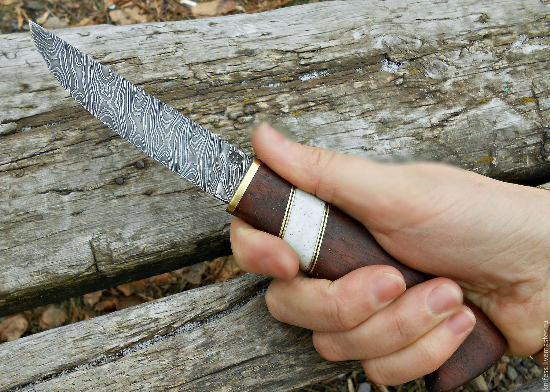 Нож ручной работы из дамаска (дамасская сталь) подарок охотнику рыбаку, Ножи, Новошахтинск,  Фото №1