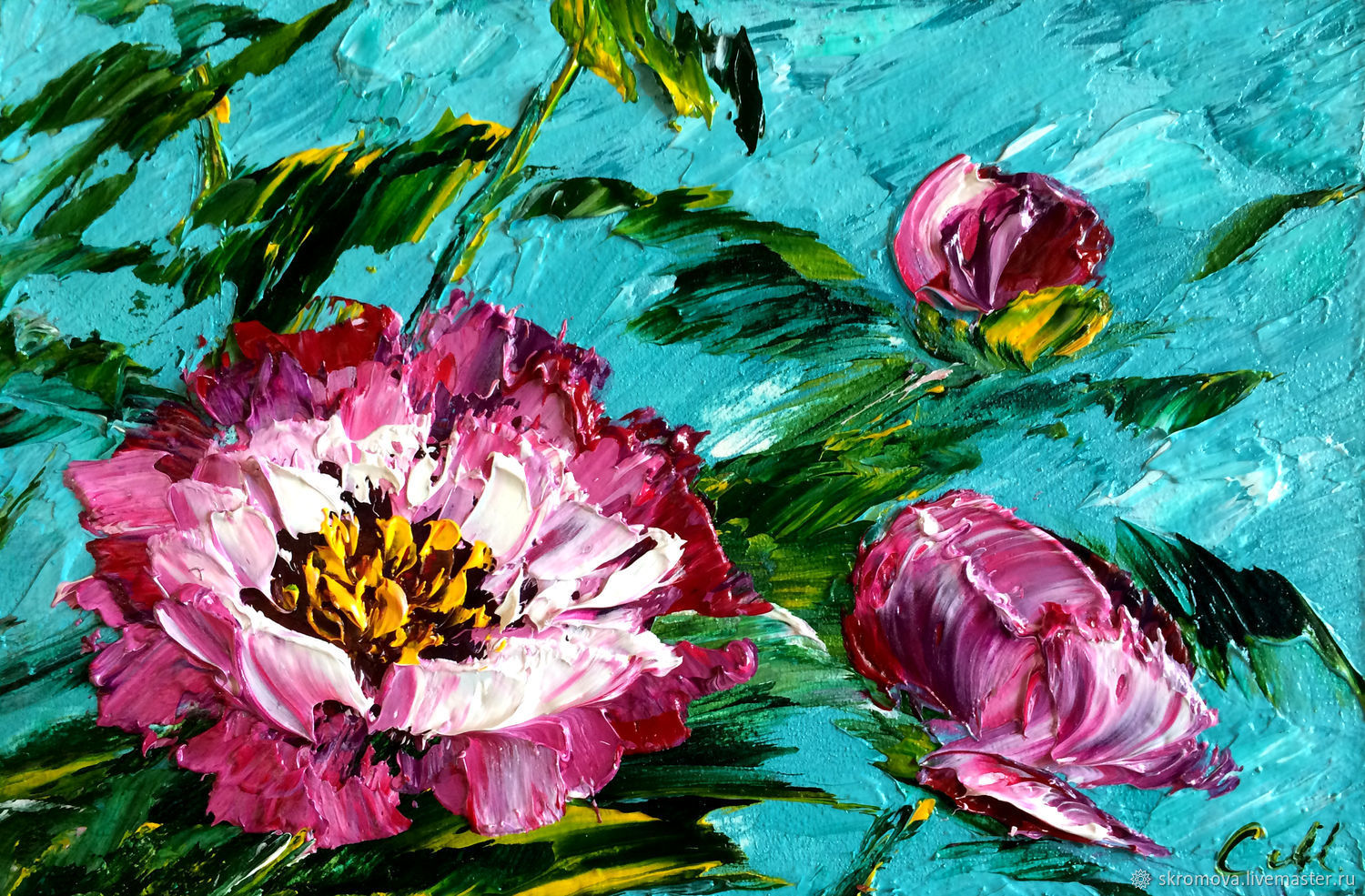 Picture postcard with Peonies oil, Pictures, Moscow,  Фото №1
