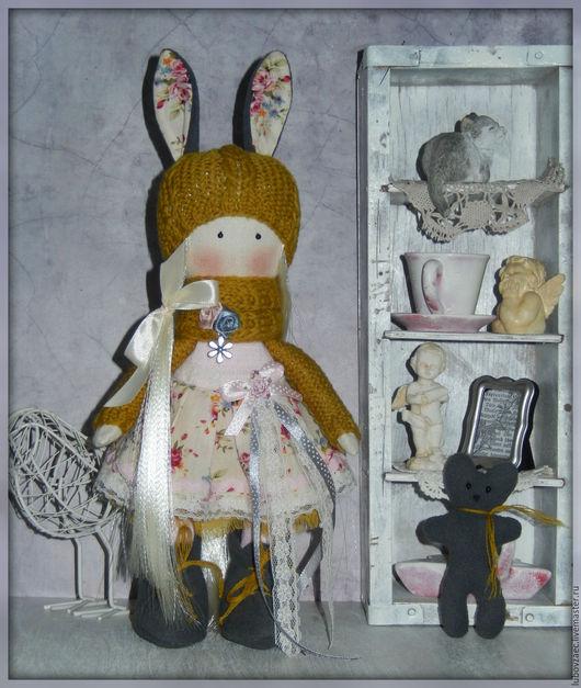 Коллекционные куклы ручной работы. Ярмарка Мастеров - ручная работа. Купить Кукла текстильная горчичный зайчик. Handmade. Бледно-розовый