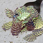 Материалы для творчества handmade. Livemaster - original item Sequins 15 mm Pink leaf with rainbow coating 2 gr. Handmade.