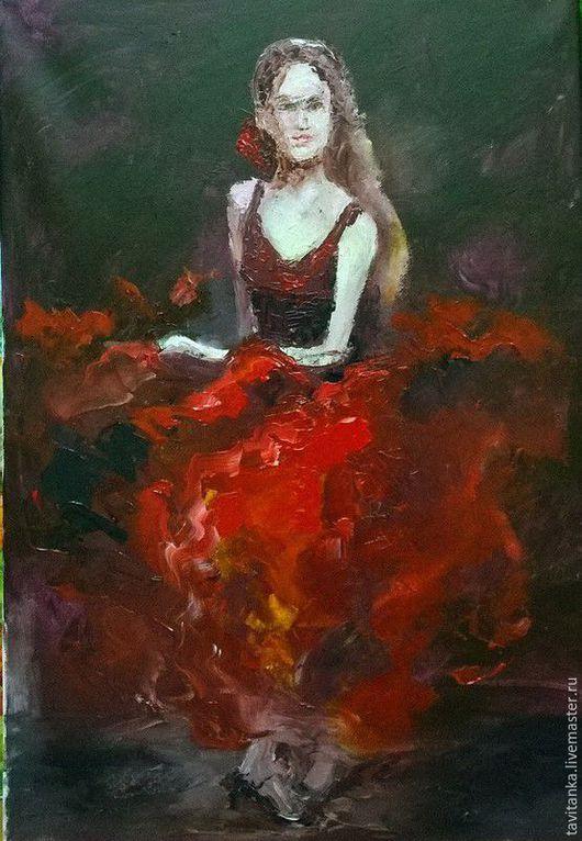 Люди, ручной работы. Ярмарка Мастеров - ручная работа. Купить Фламенко. Handmade. Комбинированный, картина маслом, картина для интерьера