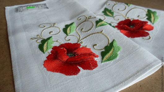Текстиль, ковры ручной работы. Ярмарка Мастеров - ручная работа. Купить Салфетки декоративные. Handmade. Белый, Вышивка гладью, лён