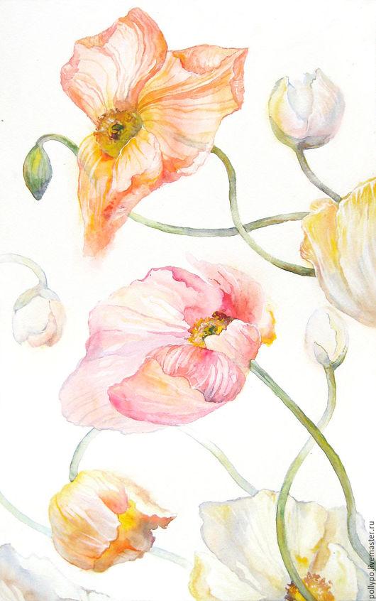 """Картины цветов ручной работы. Ярмарка Мастеров - ручная работа. Купить Акварель """"Нежные маки"""" ( живопись, купить светлую картину, цветы ). Handmade."""