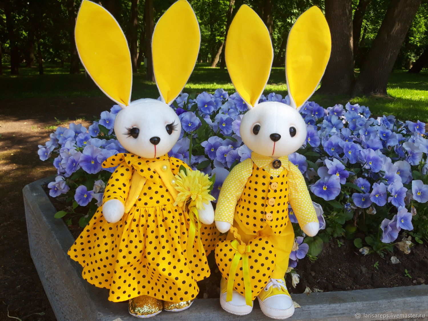 Toy hare-a pair of yellow rabbits, Stuffed Toys, St. Petersburg,  Фото №1