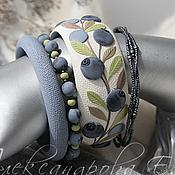 Украшения handmade. Livemaster - original item Bangle set Blueberries Polymer clay bracelet. Handmade.