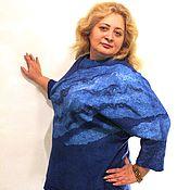 """Одежда ручной работы. Ярмарка Мастеров - ручная работа Блузон -свитер- свитшот  """"Королевский синий"""" - нуновойлок РЕЗЕРВ. Handmade."""