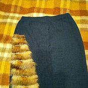 Одежда ручной работы. Ярмарка Мастеров - ручная работа Юбка синяя в клетку с отделкой мехом. Handmade.