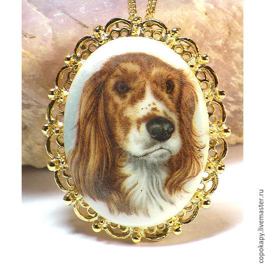 """Винтажные украшения. Ярмарка Мастеров - ручная работа. Купить Винтажный кулон-брошь """"Сеттер"""". Handmade. Белый, собака, брошь, собака"""