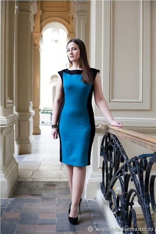 Two-tone Jersey dress - black with turquoise, Dresses, Moscow,  Фото №1