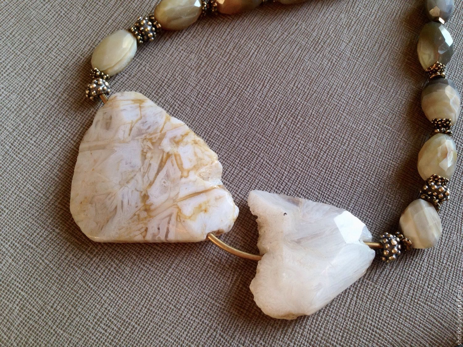 Choker Convergence. Agate natural grey-beige, Necklace, Moscow,  Фото №1