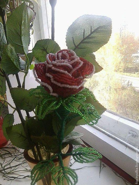 Цветы ручной работы. Ярмарка Мастеров - ручная работа. Купить Роза из бисера. Handmade. Цветы из бисера, проволока