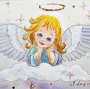"""Картины и панно ручной работы. Ярмарка Мастеров - ручная работа Р! Картина на шелке """"Ангелок"""". Handmade."""