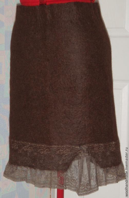 Юбки ручной работы. Ярмарка Мастеров - ручная работа. Купить Юбка из шерсти Черный шоколад. Handmade. Коричневый, юбка из шерсти