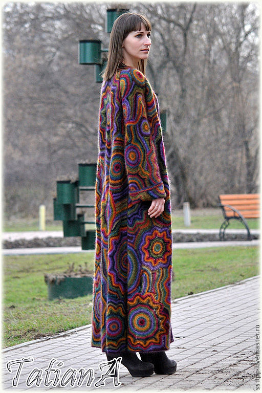вязаное пальто ручной работы Super Kaleidoscope купить в