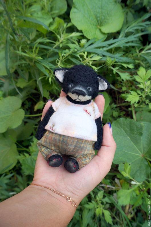 Мишки Тедди ручной работы. Ярмарка Мастеров - ручная работа. Купить Волчонок тедди. Handmade. Черный, заплатки, японский хлопок