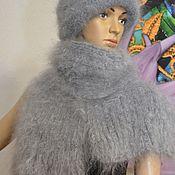 Аксессуары handmade. Livemaster - original item Downy knitted set scarf and hat 100% goat down. Handmade.