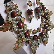 Украшения handmade. Livemaster - original item 3нити NECKLACE with LEAVES on the RIBBON +EARRINGS UNAKITE Jasper prehnite beads.. Handmade.