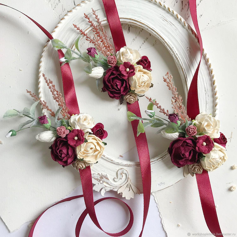 Браслеты для подружек невесты с бордовыми цветами, Б-51, Браслеты, Санкт-Петербург,  Фото №1
