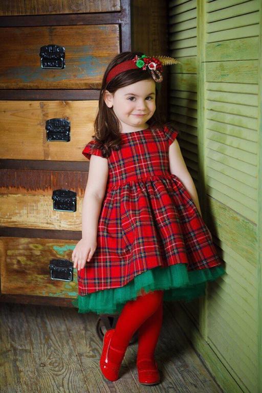 Платье в клетку девочки