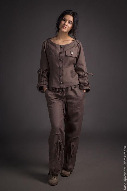Костюмы ручной работы. Ярмарка Мастеров - ручная работа. Купить Жакет и брюки изо льна. Handmade. Коричневый, брюки шаровары