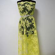 Ткань  Кружево на сетке лимонное2 10111506 Италия  Цена за метр