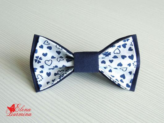 Галстуки, бабочки ручной работы. Ярмарка Мастеров - ручная работа. Купить Бабочка галстук темно-синяя с белым и сердечками, хлопок. Handmade.