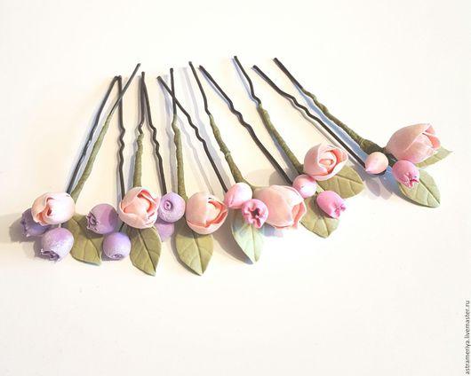 Свадебные украшения ручной работы. Ярмарка Мастеров - ручная работа. Купить Свадебные шпильки с пионами и ягодами из полимерной глины. Handmade.