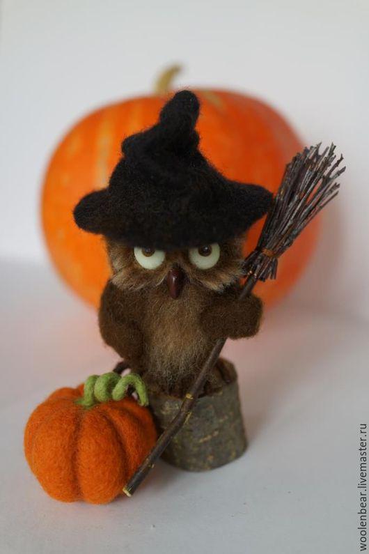 Игрушки животные, ручной работы. Ярмарка Мастеров - ручная работа. Купить Сова-ведьмочка. Хеллоуин.. Handmade. Хэллоуин, коричневый