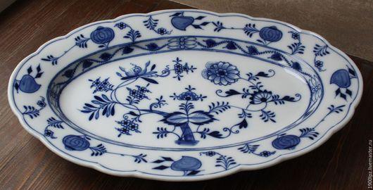Винтажная посуда. Ярмарка Мастеров - ручная работа. Купить Большое, фарфоровое, толстое, с очень красивой ручной росписью Блюдо.. Handmade.