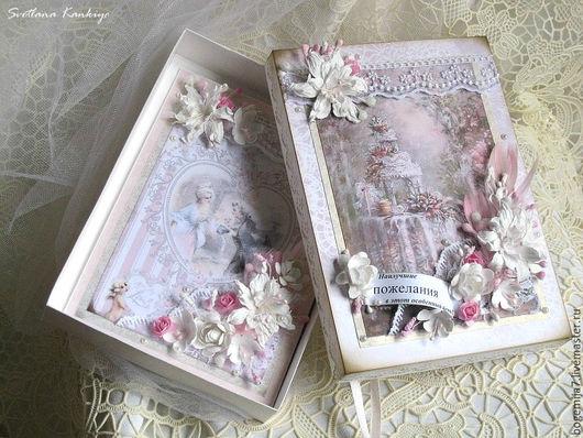 """Свадебные открытки ручной работы. Ярмарка Мастеров - ручная работа. Купить Свадебная открытка в коробочке """"Нежность"""" (бледно-розовый). Handmade."""