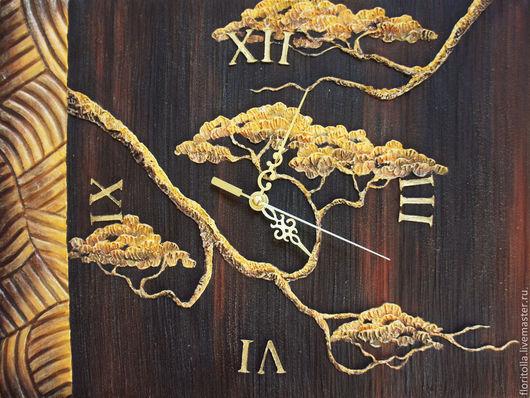 """Часы для дома ручной работы. Ярмарка Мастеров - ручная работа. Купить Часы-фреска """"Золотое дерево"""". Handmade. Коричневый, планшет"""