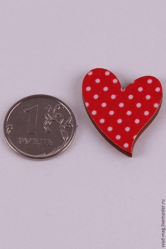 Декупаж и роспись ручной работы. Ярмарка Мастеров - ручная работа. Купить Сердце из дерева красное в горошек (2,5х3 см). Handmade.