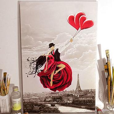 Картины и панно ручной работы. Ярмарка Мастеров - ручная работа Картина маслом на холсте - Парящие над Парижем. Светится в темноте. Handmade.
