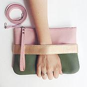 Clutches handmade. Livemaster - original item Клатч CarryMe, сумочка через плечо. Розовый клатч, сумочка хаки. Handmade.