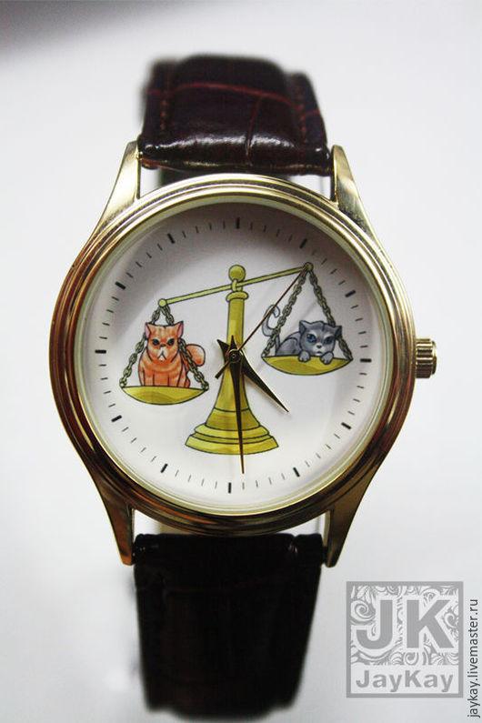 """Часы ручной работы. Ярмарка Мастеров - ручная работа. Купить Наручные часы JK  """"Коты и весы"""". Handmade. Часы"""