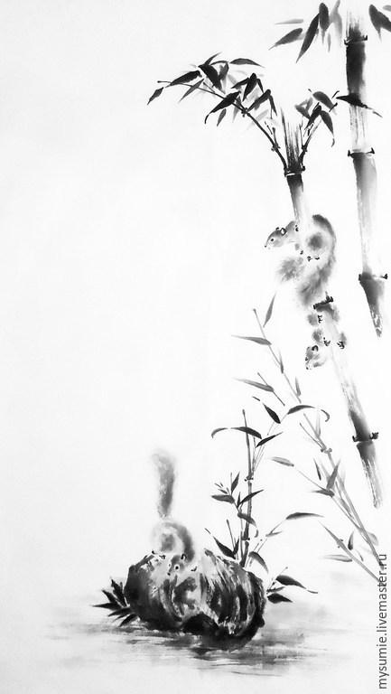 Животные ручной работы. Ярмарка Мастеров - ручная работа. Купить Бамбук. Handmade. Чёрно-белый, тушь, бамбук, рисовая бумага