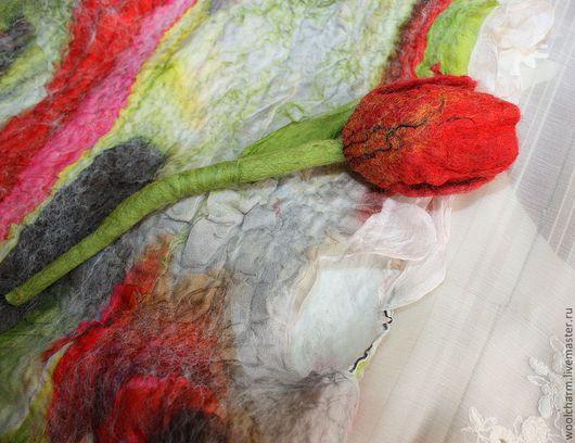 Одежда для девочек, ручной работы. Ярмарка Мастеров - ручная работа. Купить Платье-сарафан для девочки валяное Тюльпаны. Handmade. Белый
