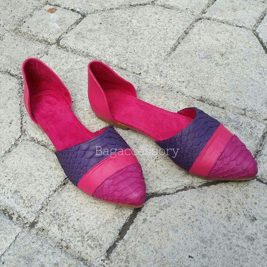 Обувь ручной работы. Ярмарка Мастеров - ручная работа. Купить Балетки из натуральной кожи питона. Handmade. Балетки, Балетки на заказ
