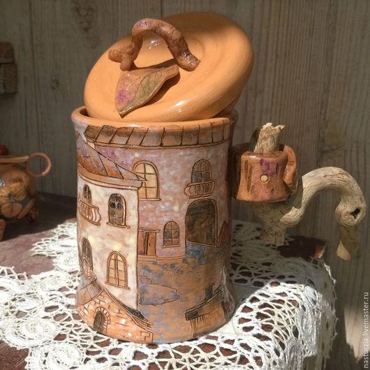 Кружки и чашки ручной работы. Ярмарка Мастеров - ручная работа. Купить Чашка Дождливый дворик керамика. Handmade. Бежевый, дождь