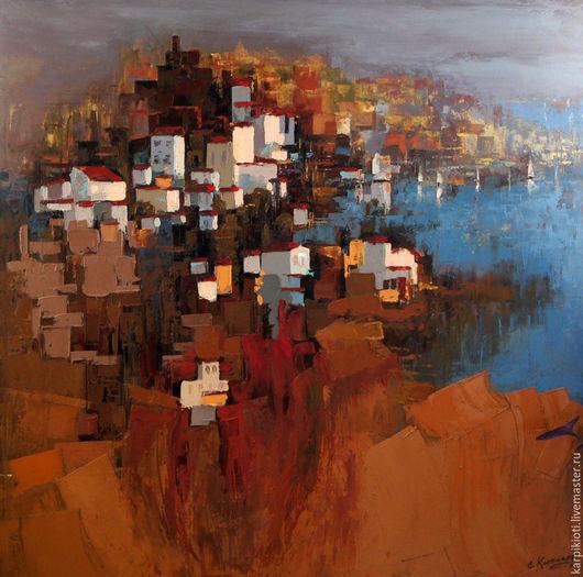 Абстракция ручной работы. Ярмарка Мастеров - ручная работа. Купить Морской абстрактный пейзаж, современное искусство 100 х 100см. Handmade.
